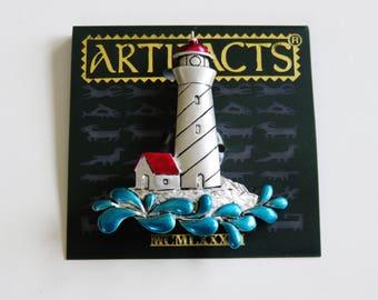 Rare JJ Jonette Dimensional Lighthouse With Splashing Waves Brooch Pin