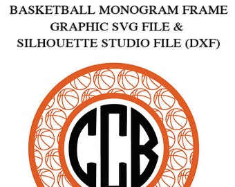 Basketball Monogram Frame File for Cutting Machines | SVG and Silhouette Studio (DXF)