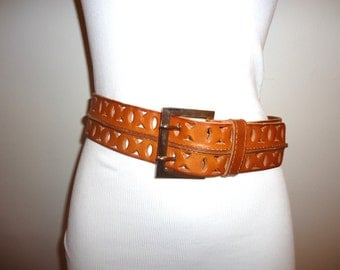 Must See! Really Nice Cognac Leather Belt, Sz. M