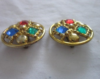 Vintage Retro Colorful Rhinestones & Gold Tone Earrings