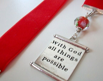 Red Velvet Ribbon Bookmark w/With God all things are possible scroll charm