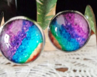 Multi Color Stripe Cabochon Clip on Earrings