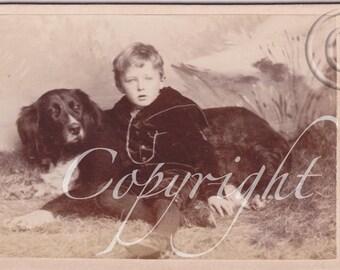 Boy and His DogVintage photo- Antique CDV photograph