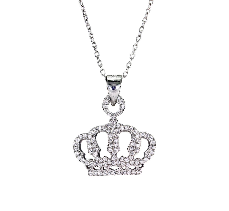 925 argent collier de couronne couronne pose collier collier. Black Bedroom Furniture Sets. Home Design Ideas