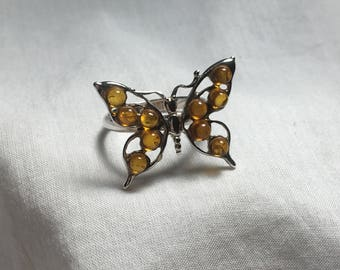 Amber Butterfly Ring