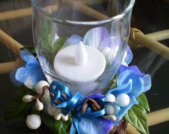 Floral Candle Holder Arrangement with Battery Candle ~ Blue