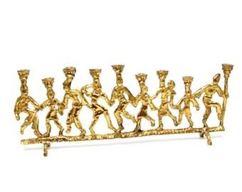 Vintage Cast Solid Brass Hanukkah Menorah