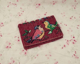 Cross-stitch Clutch. Bird Clutch. Floral Clutch. Handmade Clutch. Vintage Clutch.