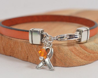 Multiple Sclerosis (MS) Awareness Bracelet - Orange 5mm Flat Leather with Silver Plated Lobster Clasp (5A-139m)