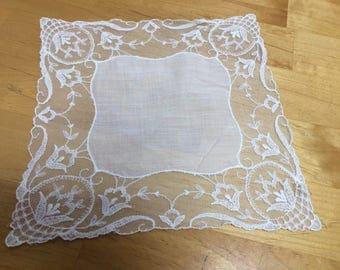 White Lace Edged Handkerchief Vintage