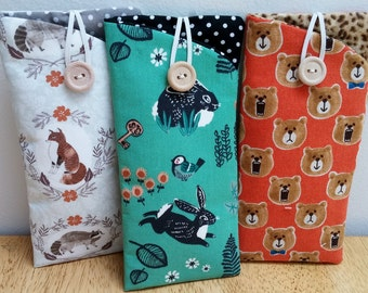 Eyeglass Case, Sunglass case, Eyeglass holder, woodland animals Padded Eyeglass pouch Sunglass pouch button & elastic closure