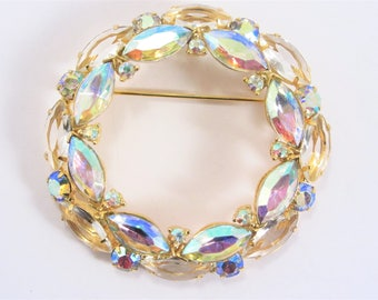 Large Vintage Aurora Borealis and Clear Rhinestone Brooch