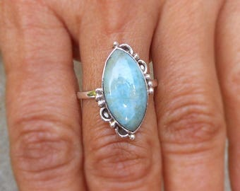 Blue Larimar Ring 925 Solid Silver Marquee Ring Sterling Silver Ring Sky Blue Larimar Jewelry Larimar Stone Jewelry Gift ring Artisan Ring 9