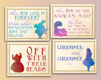 Alice in wonderland party printables alice in wonderland decorations Instant download alice in wonderland decor alice in wonderland quotes