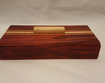 Wood Box, Red Heart, Mahogany, Curly Maple