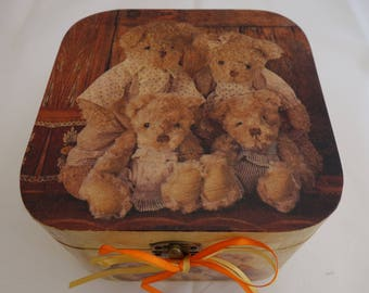 Teddy design decoupage wooden cube box, to keep those small momentoes, and treasures safe.