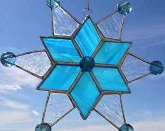 Stained Glass Snowflake | Stained Glass Star Suncatcher | Blue Snowflake Suncatcher | Christmas Star Sun Catcher Turquoise