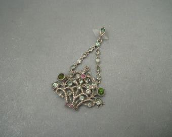 Delicate Art Deco sparkly  sterling silver 'floral basket' paste pendant.