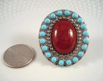 Boho Ring - Turquoise - Coral - Coachella Jewelry - Bohemian Ring - Silver Adjustable Ring