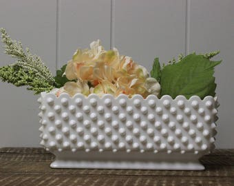 Large Fenton Hobnail Milk Glass Planter Milk Glass Dish