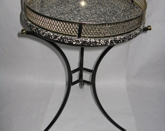 Mid Century Modern aluminum metal round table top tray lifts off