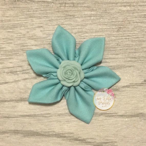 Large solid teal aqua flower headband   baby girl   hand sewn