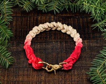 Braided Dog Collar Cotton Rope with Trigger Snap - 2-Tone Ombré