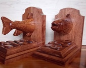 Wood Book Ends, Trout Woo...