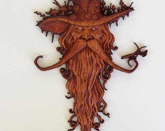 Wood Carving, Wood Spirit Carving, Wood Wall Art, Wood Spirit, Carved Wood Tree Spirit, Wood Spirit Wood Carving, Praying Mantis on Mustache