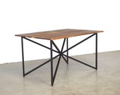 Geometric Intersecting Steel Dining Table - Solid Walnut and Natural Steel