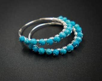 Natural turquoise earrings Turquoise and sterling silver handmade bound hoop earrings turquoise hoop earrings  boho hoop earrings