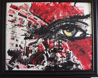 Eye Of Kratos Original Abstract painting 22 x 24 Red | Black | White | Framed