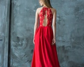 Red lace floor length evening dress, halter neck bridesmaid dress, open back prom dress with slit/ Only one size EU36/ Ready to ship!