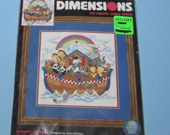 Dimensions 39012 Noah's Voyage  12 x 12  Designed By Leesa Whitten No Count Cross Stitch