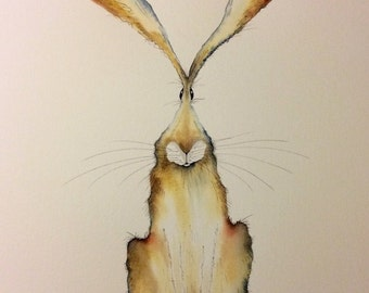 Theo - Large Original Watercolour and Ink hare painting