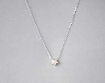 Handmade Sterling Silver Star Charm Necklace, Custom letter initials on silver
