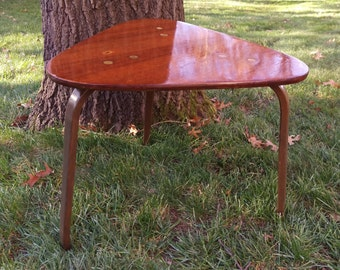 SALE Vintage Yngve Ekström Tri-Leg Teak Triangle Coffee Side Table with Inset Brass Bolts By Dux of Sweden