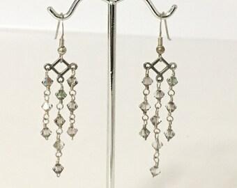 Smoky AB Crystals Chandelier Pierced Dangle Earrings 925 Sterling Silver gw16-346