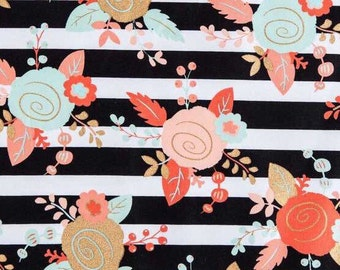 Black, White, Mint & Blush Piper Floral on Striped Fabric 100% Cotton Quilting Apparel Crafts Home decor