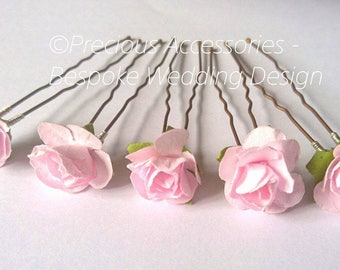 Pink Flower Girls Wedding Bridesmaids hairpins set of 5,  Brides // Proms // Bridal Accessories // Hair Accessories // Weddings