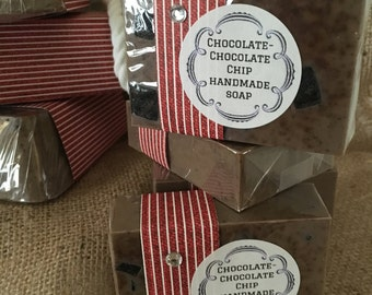 Chocolate Chocolate Chip Handmade Chocolate Soap Natural Goats Milk Glycerin Cocoa Gift for Her or Gift for Him