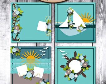 Digital Scrapbook: Layout templates, CU Friendly, Sea Kissed