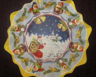 Vintage Christmas Thick Pressed Cardboard Bowl - Made In Germany - Santa, Church, Bells and Elves