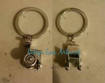 Small 3D Silver Wheelchair Keyring on Silver Split Ring. Illness, Disability, Mobility, Nurse, Doctor, Gift, Carer