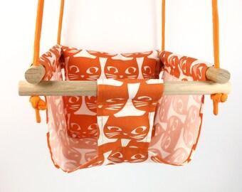 Orange Cats Canvas Childrens Swing and Pillow Indoor/Outdoor