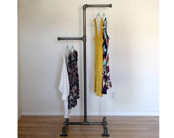 Industrial Clothing Rack - High Low Pipe Retail Display - Industrial Furniture - Clothing Display - Store Display