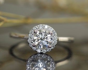 Asia B - Moissanite & Diamond Engagement Ring in White Gold, Round Brilliant Center in Halo of Prong Set Diamonds, Fit Flush, Free Shipping