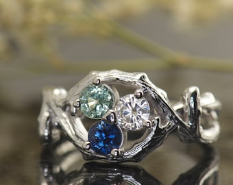 Twig 3-Stone Ring in White Gold, Blue Sapphire, Green Sapphire, Forever One Moissanite, Tree Branch, Split Twig Shank, 0.75ctw, Tatum B