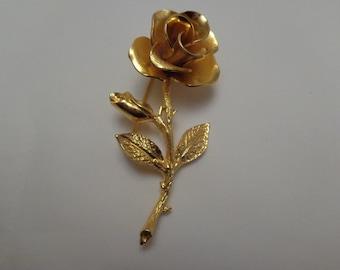 Vintage Large Rose Brooch Vintage Brooch Rose Brooch Vintage Large Gold Tone Brooch Vintage Brooch