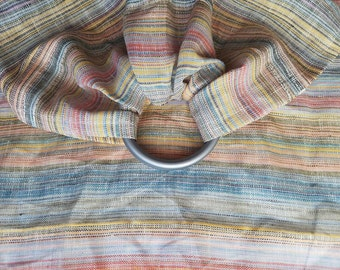 Rainbow Stripes Linen Doll Ring Sling - Toy Ring Sling - Toddler Pretend Play Baby Carrier - Stuffed Animal Carrier